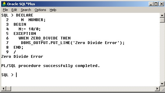 procedure with exception
