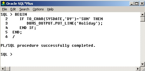 If statement in pl sql oracle example